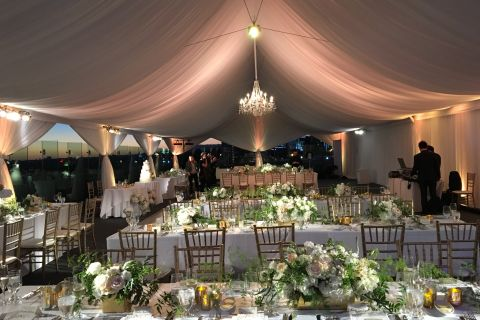 tent tented wedding dinner