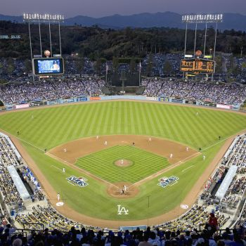 A Stadium Full Of People With Dodger Stadium In The Background